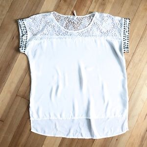 White Lace & Beaded Blouse